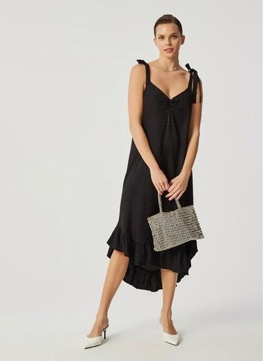Monamoda Jakarlı Volanlı Midi Elbise Siyah